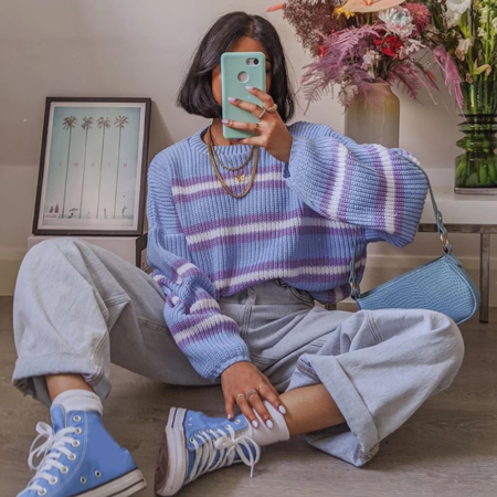 90s Oversized Striped Knit Sweater