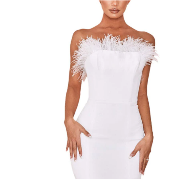 Kate Moss White Feather Dress