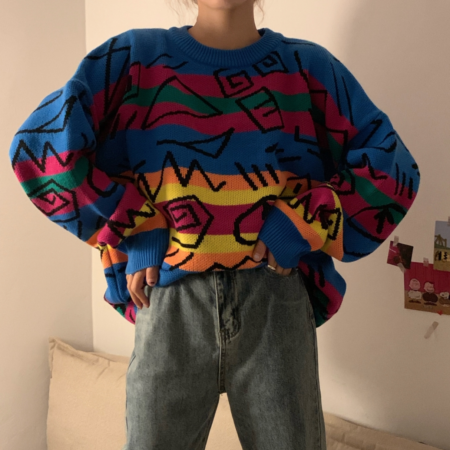 90s Oversized Retro Graffiti Jumper