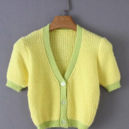 Soft Yellow and Green Cropped Cardigan