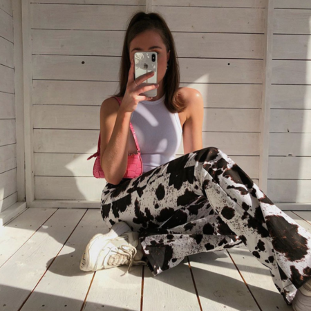 90s Cow Print Trousers