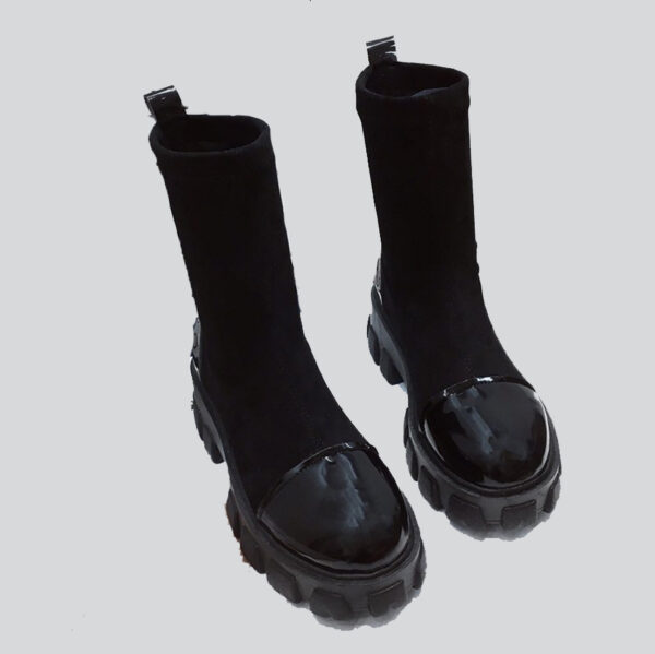 90s Gothic Suede and Patent Leather Boots